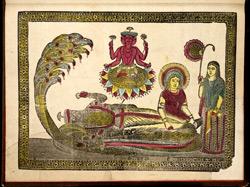 Sri Padmanabha; Vishnu, lying on a snake with his consort, Lakshmi